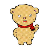 Comic cartoon teddy bear wearing scarf. Retro comic book style cartoon teddy bear wearing scarf Royalty Free Stock Photo