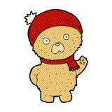 Comic cartoon teddy bear in winter hat and scarf. Retro comic book style cartoon teddy bear in winter hat and scarf vector illustration