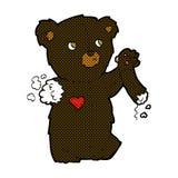 comic cartoon teddy black bear with torn arm Stock Photos