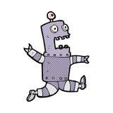 comic cartoon terrified robot Stock Image