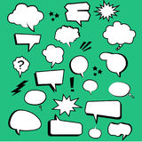 Comic cartoon text boxes with elements. And green background Stock Photos