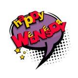 Comic cartoon text happy wednesday Stock Image