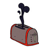 comic cartoon toaster burning toast Stock Photo