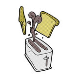 Comic cartoon toaster spitting out bread Stock Images