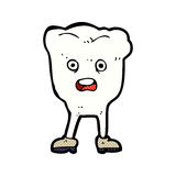 Comic cartoon tooth looking afraid Stock Images