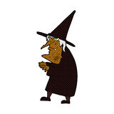 Comic cartoon ugly old witch Stock Photos