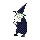 Comic cartoon ugly old witch Stock Photography
