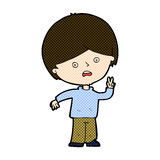 Comic cartoon unhappy boy giving peace sign Stock Photo
