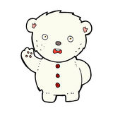 Comic cartoon unhappy polar teddy bear Royalty Free Stock Images