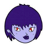 Comic cartoon vampire girl face Royalty Free Stock Images