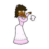 Comic cartoon victorian woman dropping handkerchief Royalty Free Stock Photos
