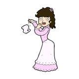 Comic cartoon victorian woman dropping handkerchief Royalty Free Stock Images