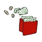 Comic cartoon wallet spilling money Stock Image