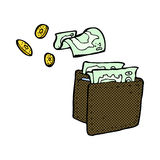 comic cartoon wallet spilling money Royalty Free Stock Images