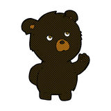 Comic cartoon waving black bear Royalty Free Stock Images
