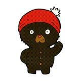 Comic cartoon waving black teddy bear in winter hat Royalty Free Stock Photography