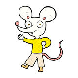 comic cartoon waving mouse Royalty Free Stock Images