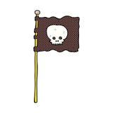 Comic cartoon waving pirate flag Stock Image