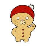 Comic cartoon waving teddy bear in winter hat. Retro comic book style cartoon waving teddy bear in winter hat royalty free illustration