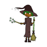 Comic cartoon witch casting spell Stock Photo