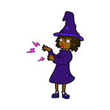 Comic cartoon witch casting spell Stock Photography