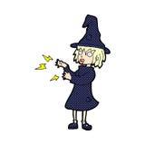 comic cartoon witch casting spell Stock Photos