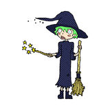 Comic cartoon witch casting spell Royalty Free Stock Image
