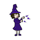 comic cartoon witch casting spell Stock Photos