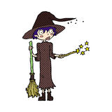 Comic cartoon witch casting spell Royalty Free Stock Photo