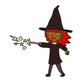 Comic cartoon witch girl casting spell Stock Images