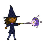 Comic cartoon witch girl casting spell Stock Photo