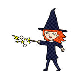 comic cartoon witch girl casting spell Royalty Free Stock Photo