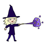 comic cartoon witch girl casting spell Stock Photography