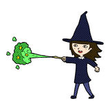 comic cartoon witch girl casting spell Stock Image