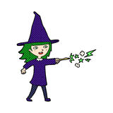 Comic cartoon witch girl casting spell Royalty Free Stock Photos