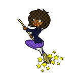 Comic cartoon witch riding broomstick Royalty Free Stock Photo