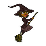 Comic cartoon witch riding broomstick Stock Image