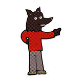 Comic cartoon wolf man pointing Stock Image