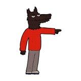 Comic cartoon wolf man pointing Royalty Free Stock Image