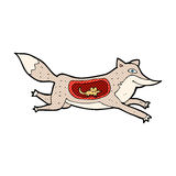 comic cartoon wolf with mouse in belly Stock Images