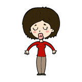 Comic cartoon woman with closed eyes Royalty Free Stock Photo