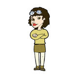 Comic cartoon woman with crossed arms and safety goggles Royalty Free Stock Images