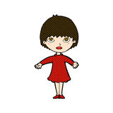 Comic cartoon woman in dress Royalty Free Stock Photography
