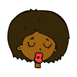 comic cartoon woman with eyes closed Royalty Free Stock Photography