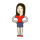 Comic cartoon woman with hands on hips Royalty Free Stock Photos
