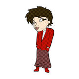 Comic cartoon woman with hands in pockets Royalty Free Stock Photography