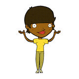 Comic cartoon woman holding arms in air Stock Image