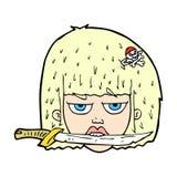 Comic cartoon woman holding knife between teeth Stock Image