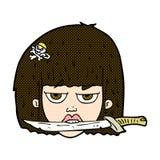 Comic cartoon woman holding knife between teeth Stock Photo