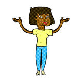 Comic cartoon woman holding up hands Royalty Free Stock Images